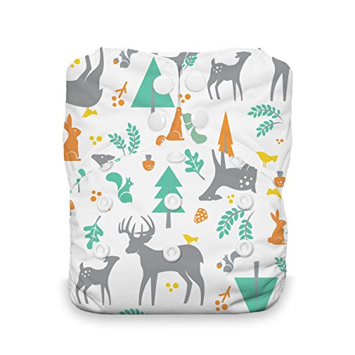 Thirsties Natural One Size All in One Cloth Diaper, Snap Closure, Woodland