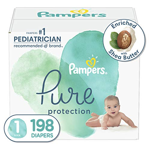 Diapers Size 1, 198 Count - Pampers Pure Protection Disposable Baby Diapers, Hypoallergenic and Unscented Protection, ONE Month Supply (Packaging & Prints May Vary)