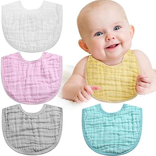 10 Pieces Muslin Adjustable Baby Bandana Drool Bibs for Drooling Baby (White, Green, Pink, Yellow, Gray)